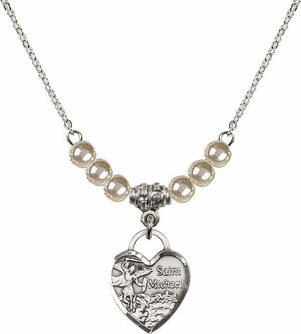 Small St Michael Heart 4mm Faux Pearlsl Necklace by Bliss Mfg