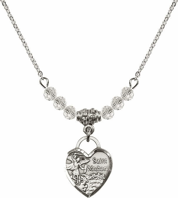Small St Michael Heart April 4mm Swarovski Crystal Necklace by Bliss Mfg