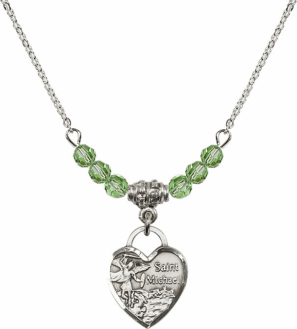 Bliss Small St Michael Heart August/Peridot 4mm Swarovski Crystal Necklace