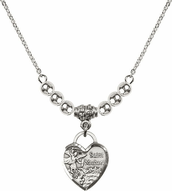 Small St Michael Heart Charm w/4mm Silver Beaded Necklace by Bliss