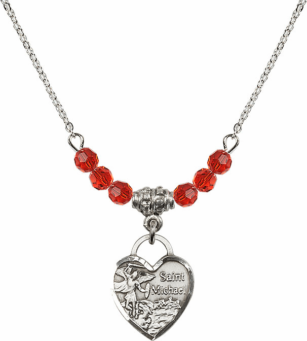 Small St Michael Heart July Ruby 4mm Swarovski Crystal Necklace by Bliss