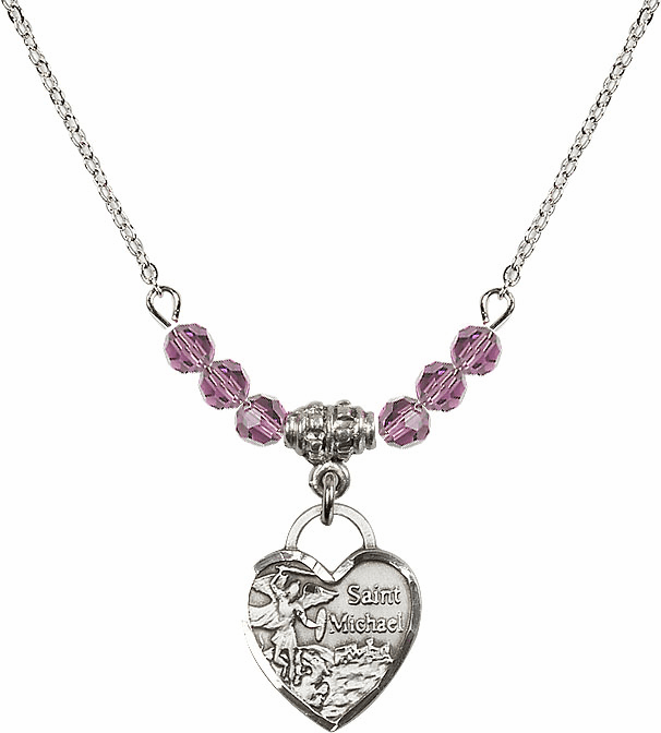 Small St Michael Heart June Lt Amethyst 4mm Swarovski Crystal Necklace by Bliss