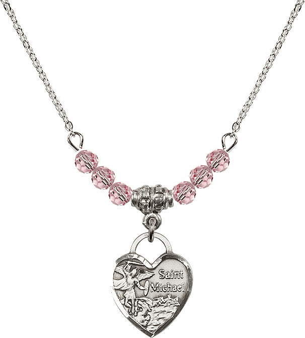 Small St Michael Heart Lt Rose 4mm Swarovski Crystal Necklace by Bliss