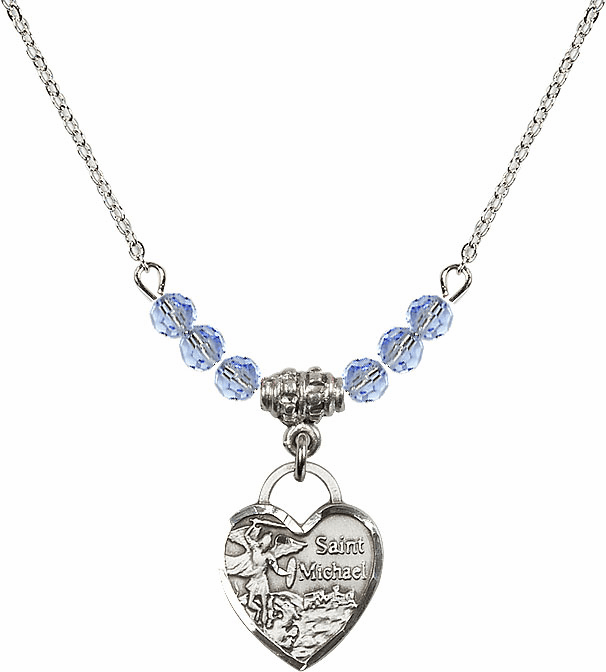Small St Michael Heart Lt Sapphire Swarovski Crystal Necklace by Bliss