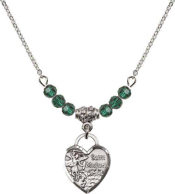 Bliss Small St Michael Heart May/Emerald Swarovski Crystal Necklace
