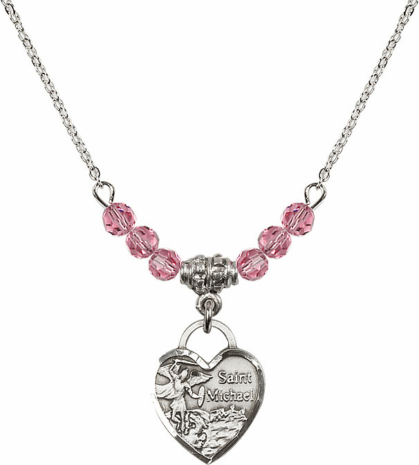 Bliss Small St Michael Heart October/Rose 4mm Swarovski Crystal Necklace