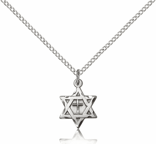 Small Star of David Cross Pendant Sterling Silver Necklace by Bliss