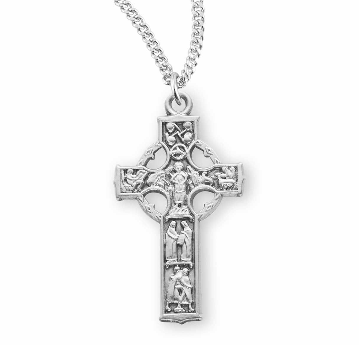 Small Sterling Silver Celtic Cross Necklace by HMH Religious