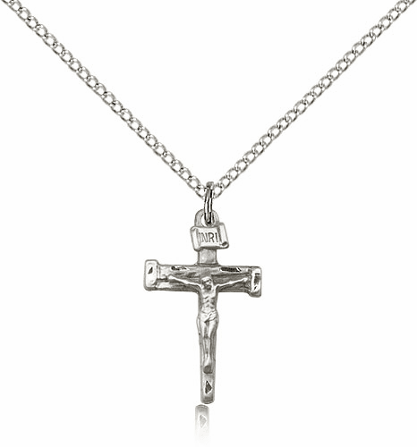 """Small Sterling Silver Nail Crucifix Pendant w/18"""" Chain by Bliss Mfg"""