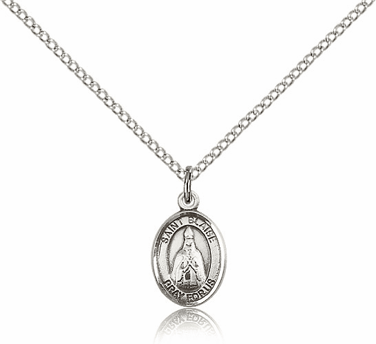 Small Sterling Silver St. Blaise Patron Saint Medal
