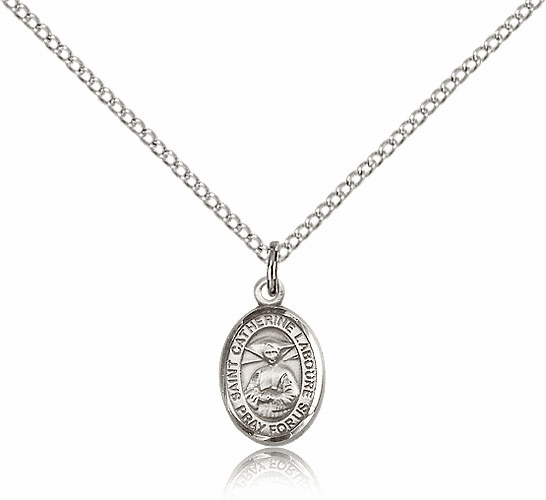 Bliss Small Sterling Silver St Catherine Laboure Patron Saint Medal w/Chain