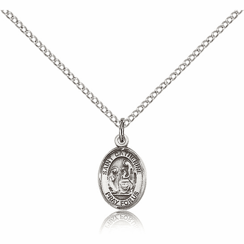 Small Sterling Silver St. Catherine of Siena Patron Saint Medal