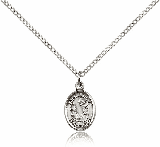 Small Sterling Silver St. Cecilia Patron Saint Medal