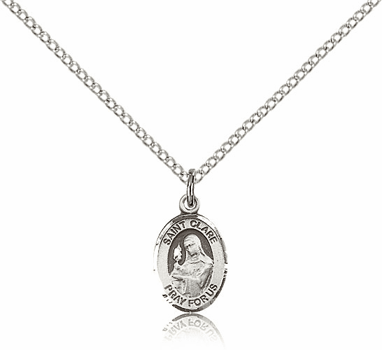 Small Sterling Silver St. Clare of Assisi Pendant by Bliss Manufacturing