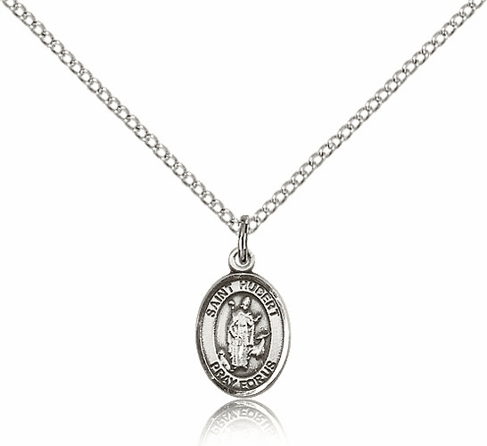 Small Sterling Silver St. Hubert of Liege Pendant