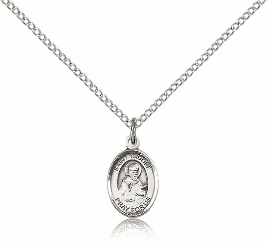 Bliss Small Sterling Silver St. Isidore of Seville Saint Medal with SS Chain
