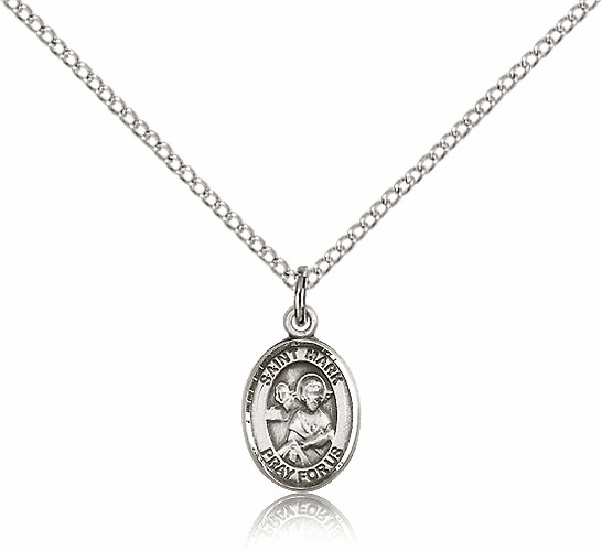 Small Sterling Silver St. Mark the Evangelist Pendant