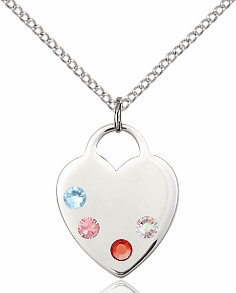 Small Swarovski Crystal Multi-Color Sterling Silver Necklace by Bliss