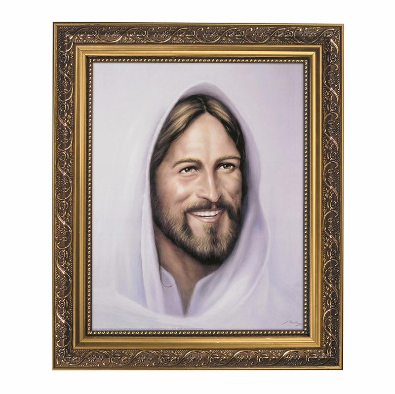 Smiling Christ Jesus Framed Print Picture with Gold Frame by Gerffert