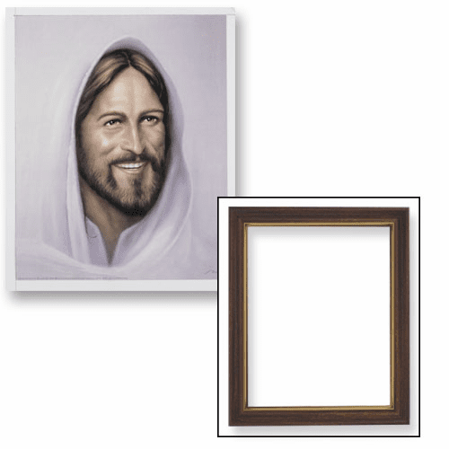 Smiling Christ Jesus Framed Print Picture with Woodtone Frame by Gerffert