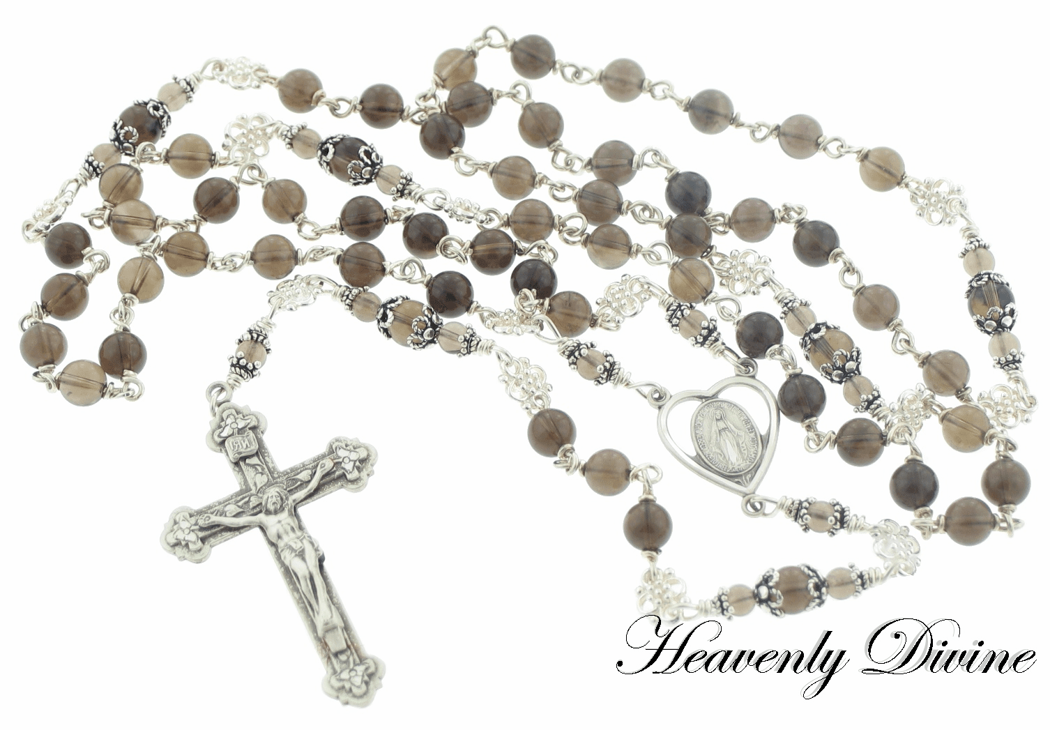 Smokey Quartz Sterling Silver Wire Wrapped Rosary by Heavenly Divine