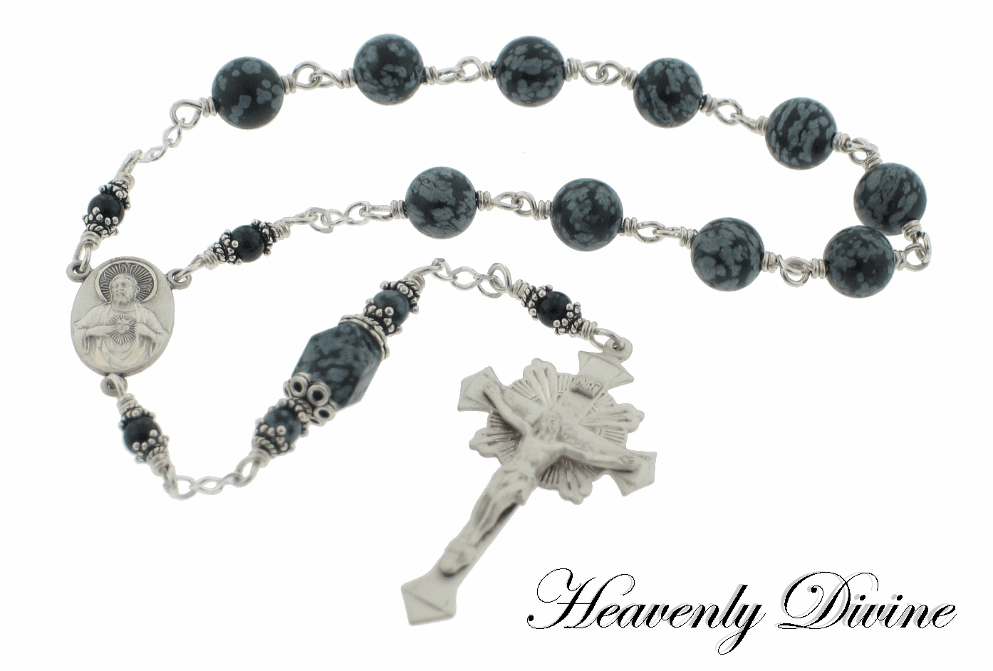 Snowflake Obsidian Wire Wrapped Pocket Rosary by Heavenly Divine