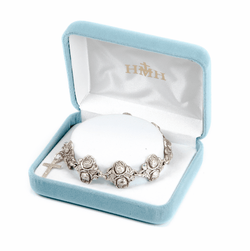 Solid Sterling Silver Double Rose Bud Beads with Patron Saints by HMH Religious