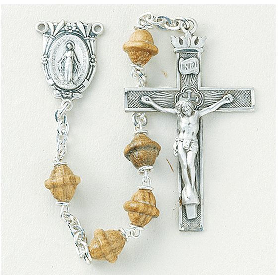Solid Walnut Bicone Bead with Crown Crucifix Prayer Rosary by HMH Religious
