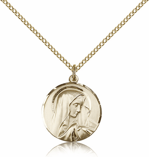 Sorrowful Mother 14kt Gold-filled Medal Necklace with Chain by Bliss