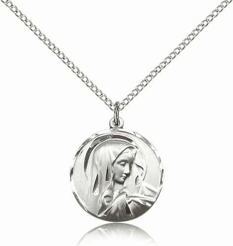 Sorrowful Mother Pewter Medal Necklace with Chain by Bliss