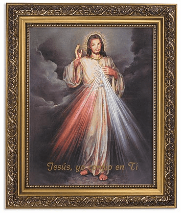 Spanish Jesus Misericordioso Divine Mercy Picture with Gold Frame by Gerffert