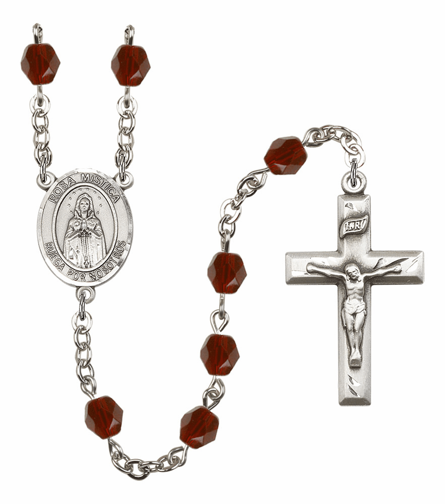 Spanish Our Lady of Rosa Mystica Silver Plate Birthstone Crystal Prayer Rosary by Bliss