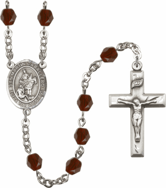 Spanish San Martin Caballero Silver Plate Birthstone Crystal Prayer Rosary by Bliss