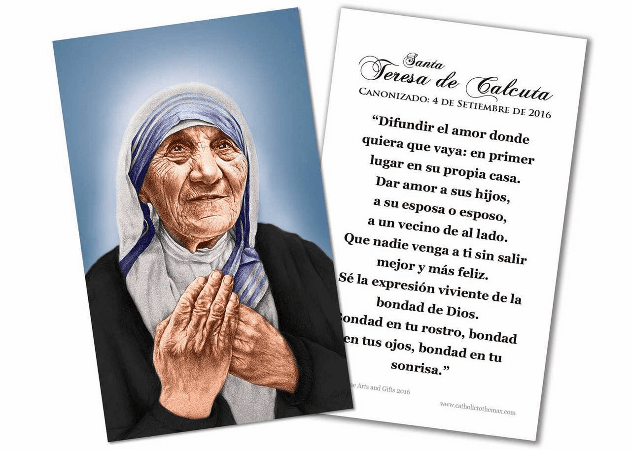 Spanish St Teresa of Calcutta Canonization Quote Holy Prayer Card by Nelson