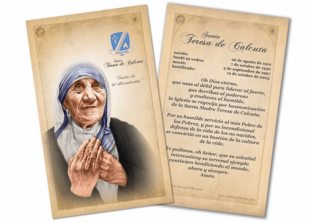 Spanish St Teresa of Calcutta Commemorative Prayer Card by Nelson