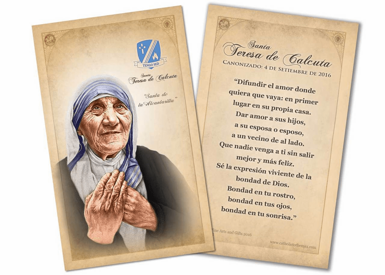 Spanish St Teresa of Calcutta Commemorative Quote Holy Prayer Card by Nelson