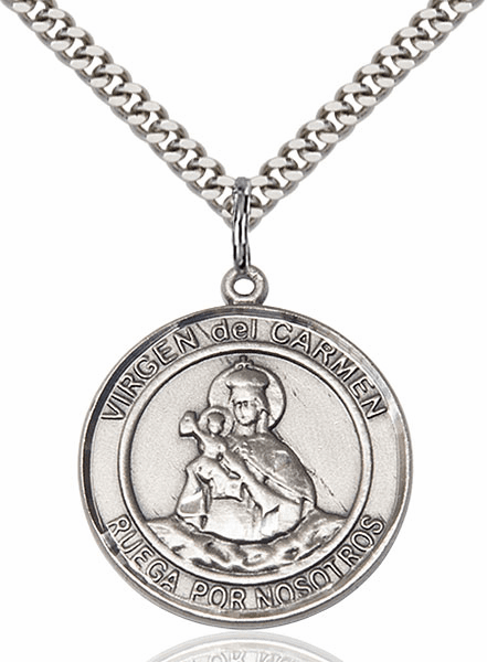 Spanish Virgen del Carmen/Our Lady of Mount Carmel Silver-filled Patron Saint Necklace with Chain by Bliss