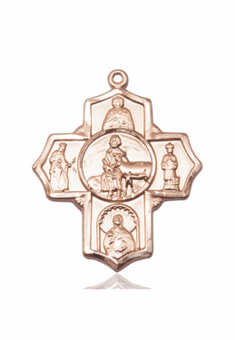 Special Needs Devotional Five-Way Cross 14kt Yellow Gold Pendant by Bliss