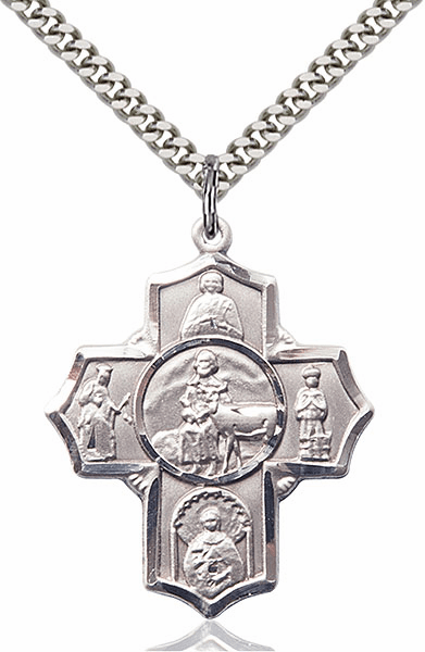 Special Needs Five-Way Cross Silver-filled Pendant Necklace by Bliss
