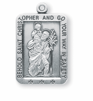 Square St. Christopher Medal Necklace by HMH Religious