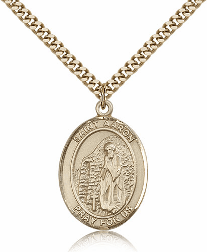 St Aaron Patron Saint Medal Necklace by Bliss Manufacturing
