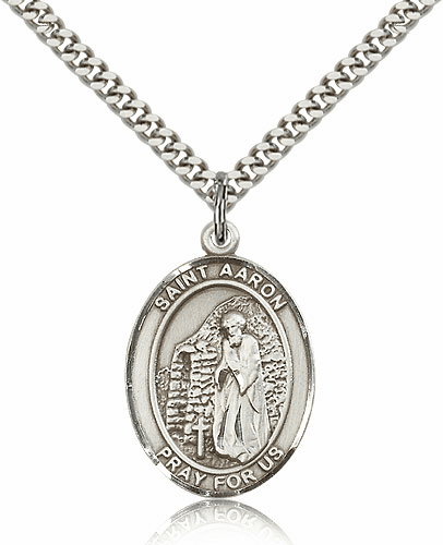 St Aaron Sterling Silver Saint Medal Necklace by Bliss