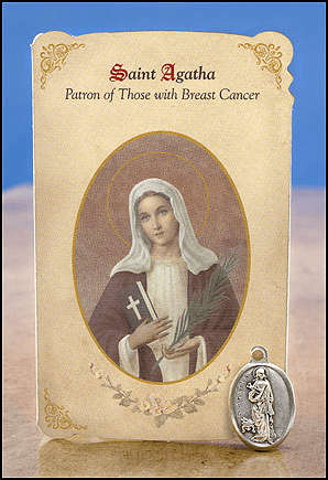 St Agatha Breast Cancer Healing Holy Cards w/Medals 6 pcs by Milagros