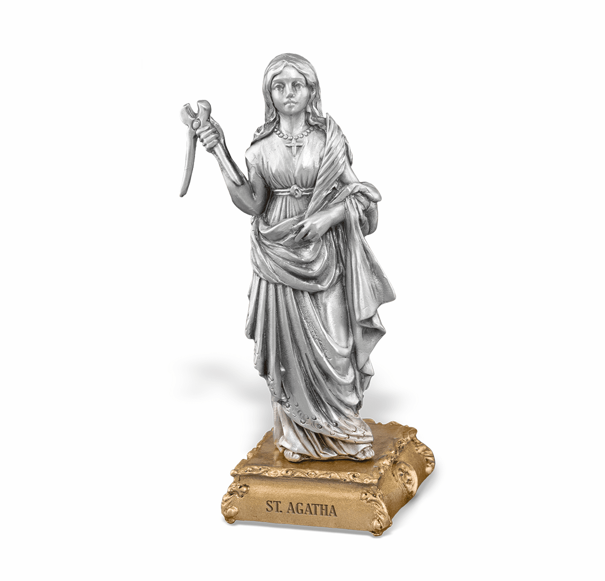 St Agatha Patron Saint Pewter Statue on Gold Tone Base by Hirten