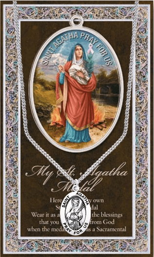 St Agatha Pewter Patron Saint Medal Necklace with Prayer Pamphlet by Hirten