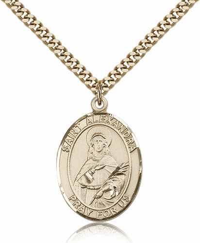 St Alexandra Gold Filled Saint Medal Necklace by Bliss