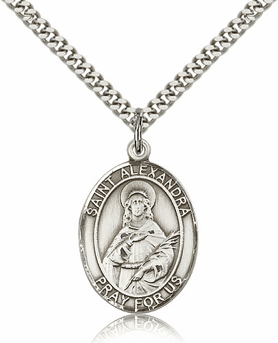 St Alexandra Sterling Silver Saint Medal Necklace by Bliss