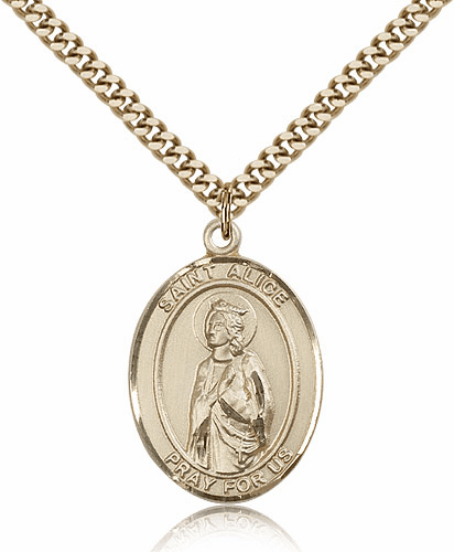 St Alice 14kt Gold-Filled Religious Saint Medal Necklace by Bliss