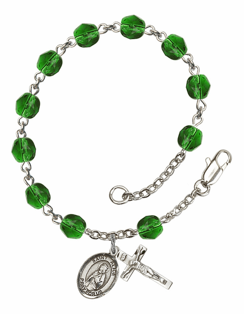 St Alice May Emerald Birthstone Rosary Bracelet by Bliss