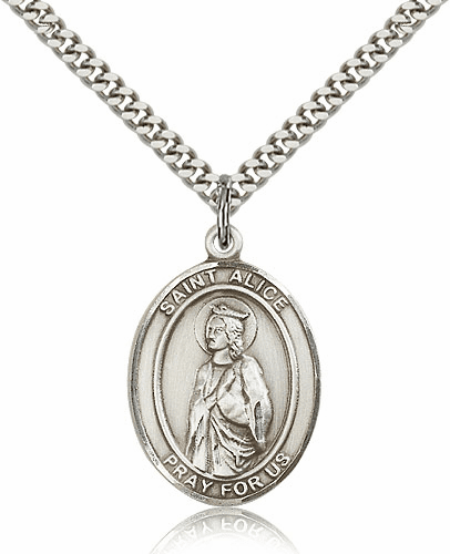St Alice Sterling-Filled Patron Saint of the Blind Medal Necklace by Bliss